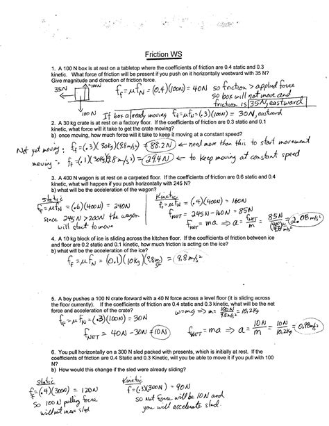 Coefficient Of Friction Worksheet Answers by Physics 11 2017 Worksheets