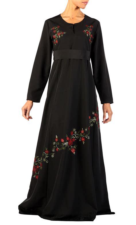 danskin tunik muslim black print floral print abaya