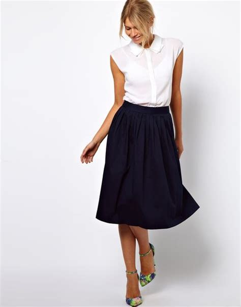 asos midi skirt in blue navy lyst