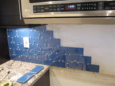 glass subway tile backsplash installation home interior