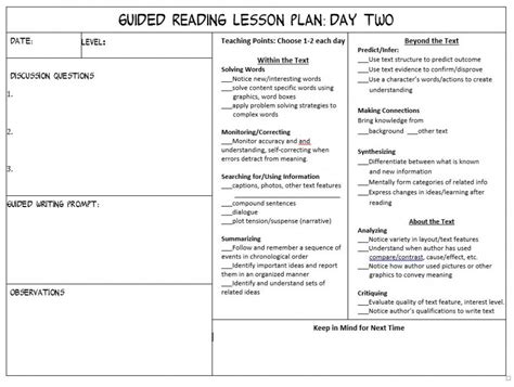 reading planning template guided reading weekly planning template guided writing