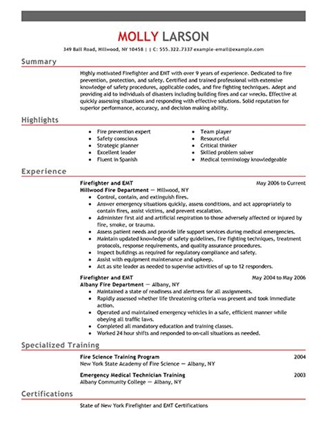 Firefighter Resume Exle Emergency Services Sle Resumes Livecareer Firefighter Resumes Templates