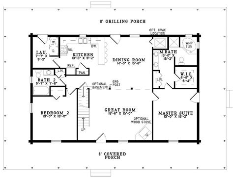 2 bedroom house plans open floor plan