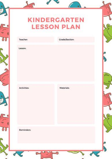 lesson plan template for kindergarten customize 1 304 lesson plan templates canva