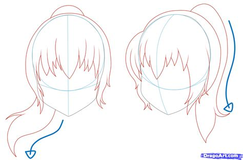 anime hairstyles ponytails how to draw girl hair step by step anime hair anime