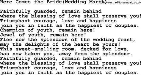 Wedding Song Lyrics And Chords by Traditional Wedding March Chords
