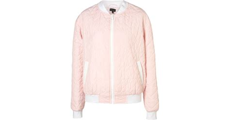 Newyork Bomber Jacket Pink 1 topshop quilted bomber jacket in pink lyst