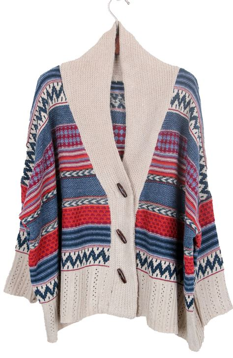 tribal pattern cardigan sweater khaki shawl collar tribal striped pattern cardigan shein