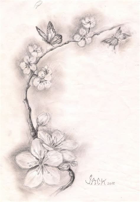 black and white cherry blossom tattoo