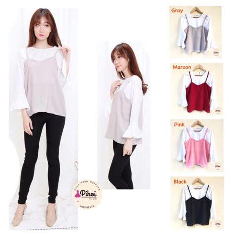 Baju Inner Perempuan 740 camisole lengan panjang baju inner outer korean style olshop fashion olshop wanita di