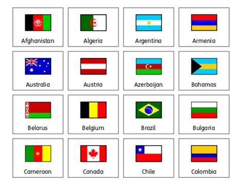 printable flash cards flags of the world olympic country flags by widgit software teaching