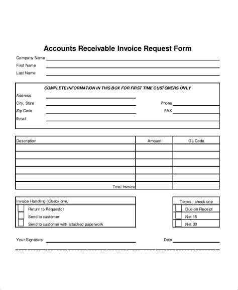 accounts receivable forms templates 9 sle invoice request forms sle templates