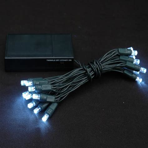 20 light battery operated lights pure white green wire