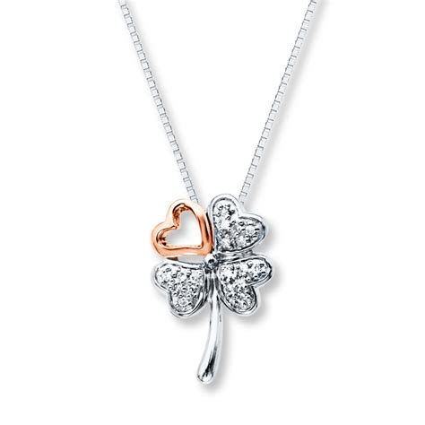 clover necklace 1 10 ct tw diamonds sterling silver