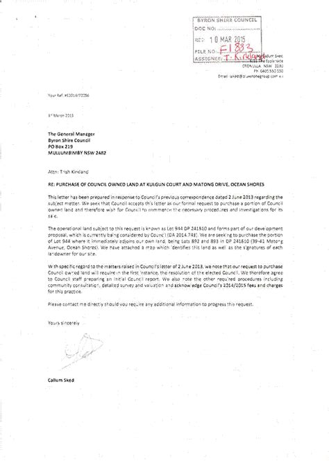 Petition Letter To Open A Subject Letter From Callum Sked Formal Request To Purchase A Portion Of Council Owned Land