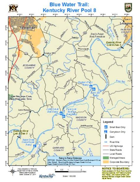 kentucky map with rivers and lakes kentucky department of fish wildlife kentucky river pool 8