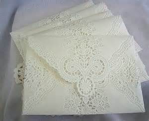 Vintage paper white wedding lace invitations paper