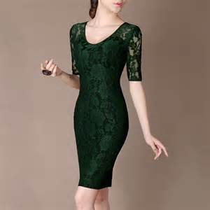 simple green formal lace dress half sleeve elegant green