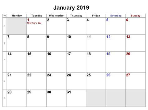 january calendar word excel formats