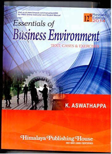 essentials of business and the environment books essential of business environment text cases exercises