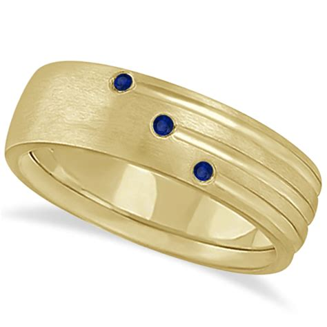 Yellow Sapphire 5 85 Ct Memo mens shooting blue sapphire wedding ring band 14k