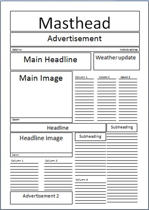 Newspaper Masthead Template brief