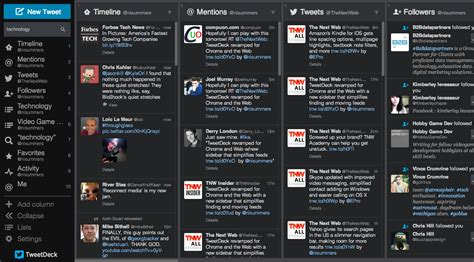 Teet Deck by Tweetdeck Reved For Chrome And Web With Expandable Sidebar