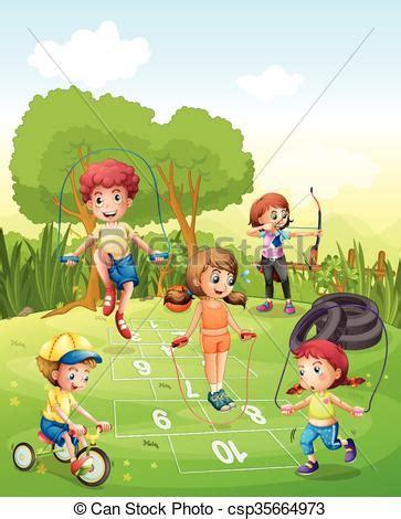 immagini clipart bambini bambini esercitarsi giardino bambini giardino