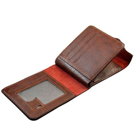 Bifold Coin Wallet fashion mens leather bifold id money holder coin purse