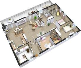 3d 3 bedroom house plans home plans 3d roomsketcher
