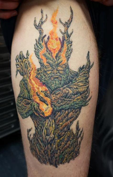 tattoo gallery of regrets custom treeman on thigh by justin mccarty tattoonow