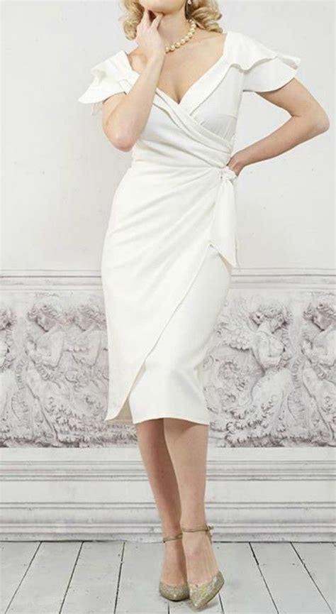 simple casual  neck knee length wedding dress  older brides      elegant