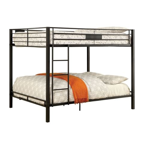 bunk bed queen furniture of america rivell queen over queen metal bunk