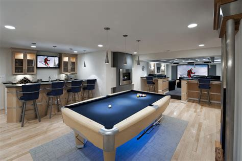ashburn contemporary basement pool area bar