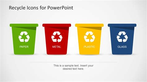 recycle sign template recycle template for powerpoint with trash can icons