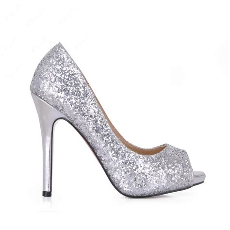shining silver stiletto heels peep toe prom evening shoes