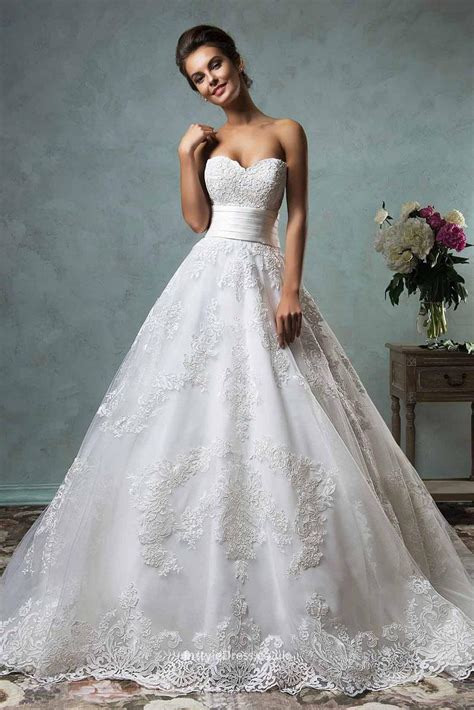 Lace Dress Wedding by Strapless Sweetheart Neckline Vintage Gown Lace