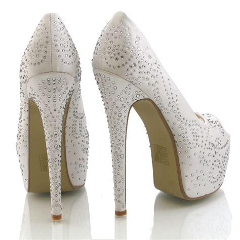 high heel satin diamante womens platform bridal