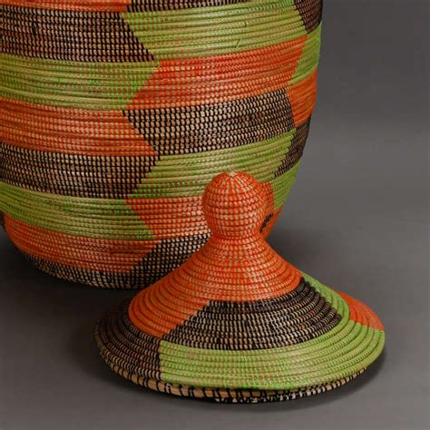 colorful woven baskets colorful woven lidded basket from senegal at 1stdibs