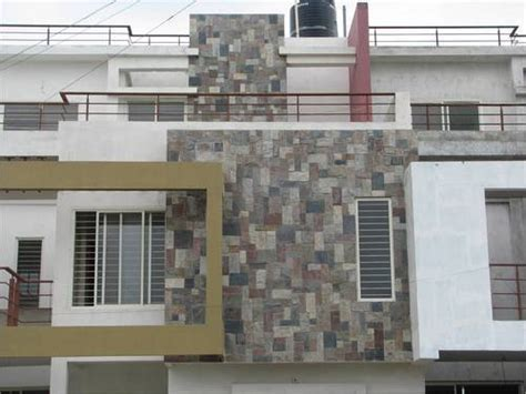 brown stone tile indian home front design with glass front wall tiles design in india elevation wall tiles