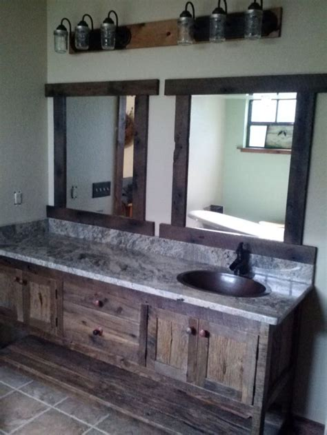 rustic vanity cabinets for bathrooms your custom made rustic barn wood double vanity with 4