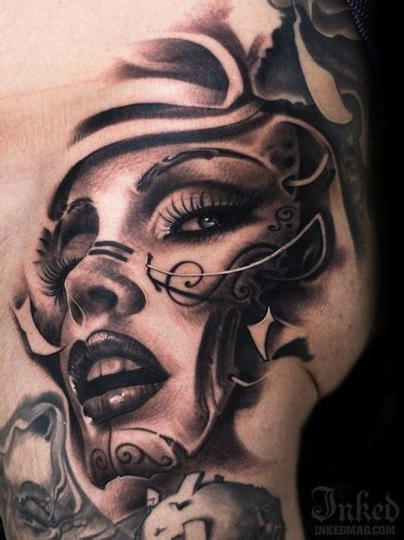 tattoo face with printer ink woman face on hip by victor portugal tattoo artist