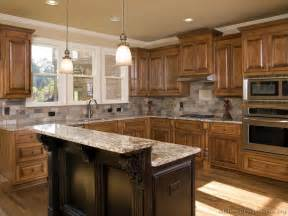 Island Kitchen Cabinets Tile Backsplash Granite Countertop Oak Colored Cupboards Light Colored Oak Cabinets With