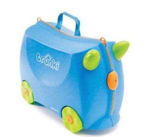 Trunki Luggage Terrence Blue fly with gulliver