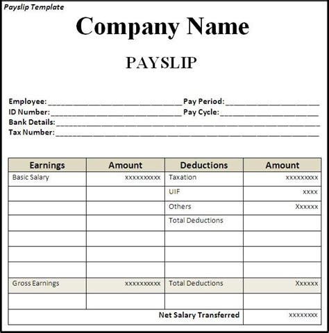 payslip template templates forms pinterest template and pdf