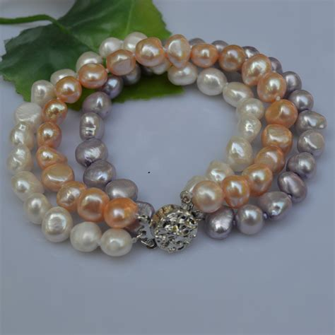 Handmade Pearl Bracelet - 癡辛andmade pearl jewelry 3 rows rows baroque freshwater