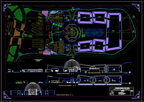 contemporary museum  dwg design block  autocad