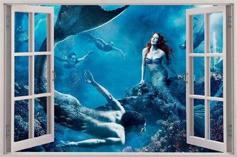 mermaid wall mural 3d window view mermaids sea wall sticker