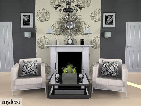 grey room wallpaper feature wall  white fireplace