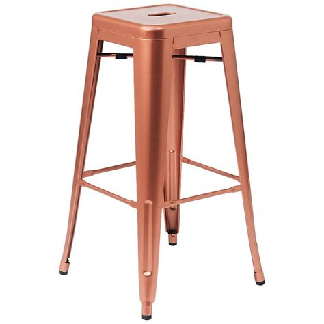 backless metal bar stools bistro style metal backless bar stool in copper finish